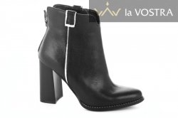 Ботинки женские Nivelie 6913 (весенне-осенние, черный-карина, кожа)