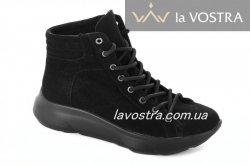 Черевики жіночі Devis 5507 (весняно-осінні, чорний, замш)