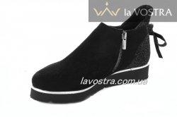Ботинки женские Sira colection 5528 (весенне-осенние, черный, замш)
