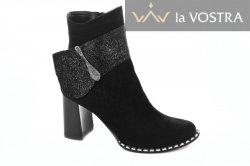 Ботинки женские Днепр 2723 (весенне-осенние, черный, кожа-замш)