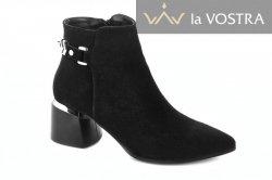 Ботинки женские Lirio 6725 (весенне-осенние, черный, замш)