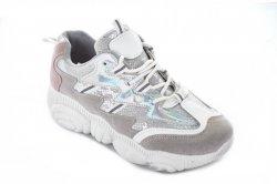 Кросівки жіночі M/N 6445 (весняно-осінні, срібло, еко-замш)
