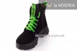 Ботинки женские Днепр 6797 (зимние, черный, замш)