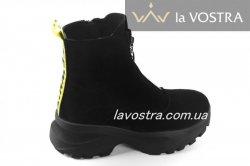 Ботинки женские Днепр 6795 (зимние, черный, замш)