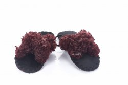 Тапочки женские  6915 (, бордовый, текстиль)