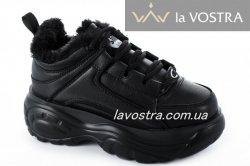 Кроссовки женские G-style 6738 (зимние, черный, эко-кожа)