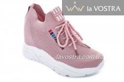 Сникерсы женские  7013 (весна-лето-осень, розовый, текстиль)