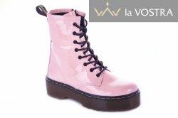 Ботинки женские Maria Sonet 7009 (весенне-осенние, розовый, лак)
