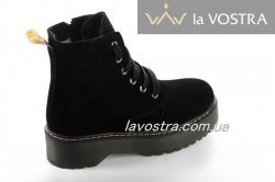 Ботинки женские Днепр 6813 (зимние, черный, замш)