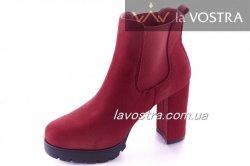 Ботинки женские Seastar 6750 (весенне-осенние, красный, эко-замш)
