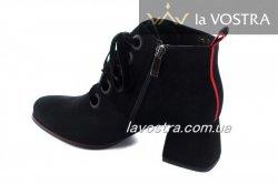 Ботинки женские Style-N 7053 (весенне-осенние, черный, замш)