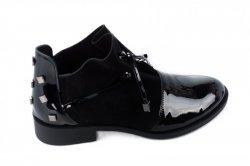 Ботинки женские Liliya 7056 (весенне-осенние, черный, наплак)