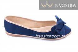 Балетки женские Seastar 2348 (весна-лето-осень, т.синий, эко-замш)