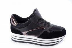 Кросівки жіночі Comer 3267 (весняно-осінні, чорний, еко-шкіра)