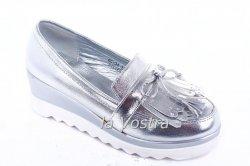 Туфли женские Seastar 4908 (весна-лето-осень, серебро, эко-лак)