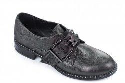 Туфли женские Style-N 6318 (весенне-осенние, сатин-черный, кожа)