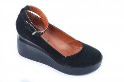 Туфли женские Днепр 4732 (весенне-осенние, черный, замш)
