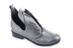 Ботинки женские Днепр 2667 (весенне-осенние, графит, кожа)