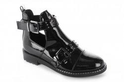 Ботинки женские Aotoria 2114 (весенне-осенние, черный, эко-лак)