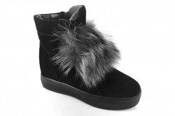 Ботинки женские ITTS 6787 (зимние, черный, замш)
