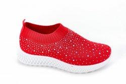 Мокасини жіночі Seastar 7135 (літо, червоний, текстиль)
