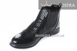 Ботинки женские Aotoria 2766 (весенне-осенние, черный, эко-лак)
