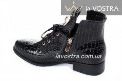 Ботинки женские Haidra 2834 (весенне-осенние, черный, эко-лак)