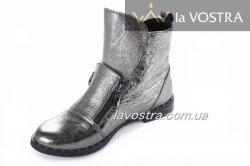 Ботинки женские Днепр 134 (весенне-осенние, серебро, кожа)