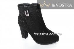 Ботинки женские Basida DX1628 (весенне-осенние, черный, эко-замш)