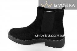 Ботинки женские Seastar 6605 (весенне-осенние, черный, эко-замш)