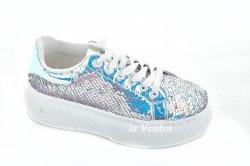 Кросівки жіночі Seastar 6265 (весна-літо-осінь, срібло, паєтки)